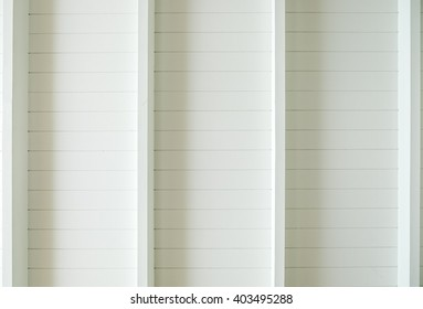 White wood plank roof in room