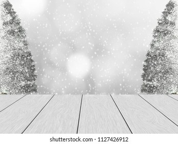 White wood planks, in the background blurred bokeh, snowy pine and snowfall. Space for the text.