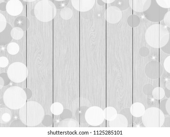 White wood planks texture background, with bokeh frame and sparkle.