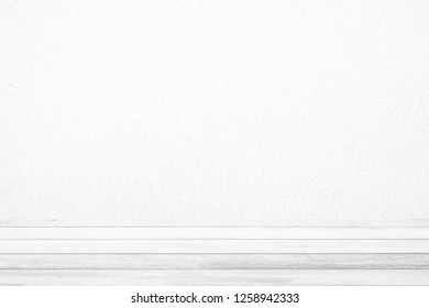 White Wood Table with Sand Wall Background, Suitable for Product Display.