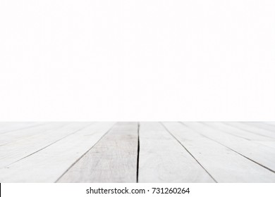 White Wood table top on white background for background - can be used for display or montage your food and package products.