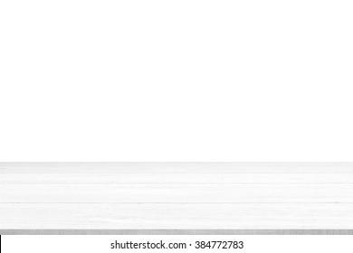 White wood table top panel isolated on white background, use for display products advertisement