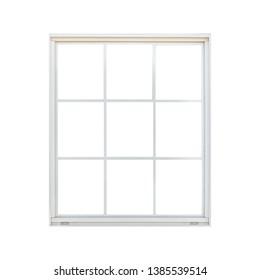 White wood window frame isolated on white background