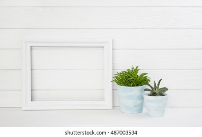 White wooden background with a cactus plant pot as a mock up frame for concepts.