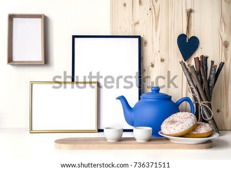 White Wooden Background Frames Presentation Your Stock Photo (Edit ...