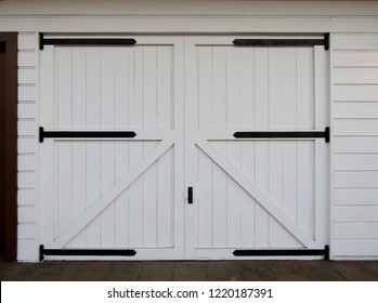 White wooden barn doors