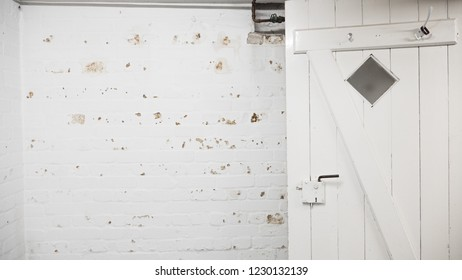 White wooden basement door, damp wall, water stains, damage on wall, visible through the paint