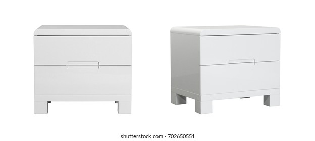 White wooden bed drawer furniture on white background