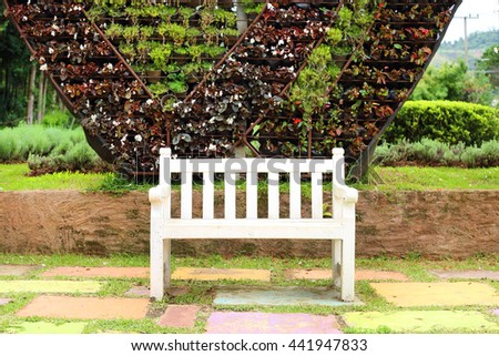 White Wooden Bench Garden Natural Background Stock Photo Edit Now