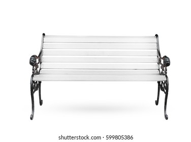 White wooden bench isolate on white background.