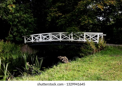 The white wooden bridge at Elswout estate in The Netherlands