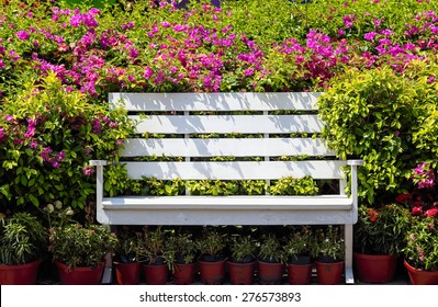 White wooden chair in park.