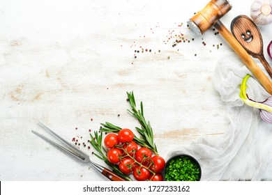 White wooden cooking banner. Free space for your text.
