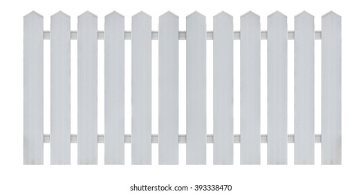 White wooden country style fence isolated on white background. Object with clipping path.