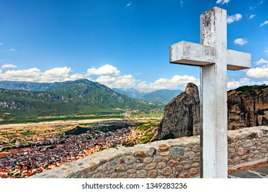 White wooden cross in the Holy Trinity Monastery.  Meteora, Greece.