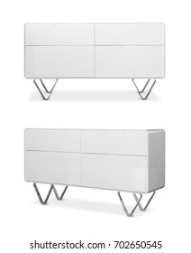 White wooden design drawer furniture on white background