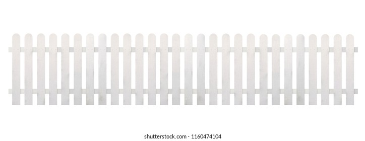 White wooden fence isolated on white background with clipping path