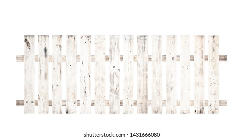 White wooden fence isolated on a white background that separates the objects. There are Clipping Paths for the designs and decoration