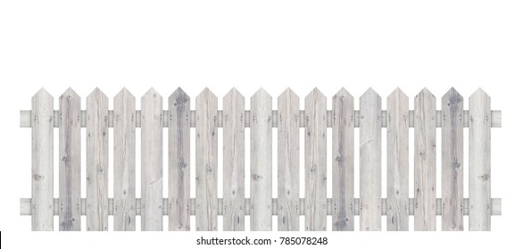 White wooden fence isolated on white background with parallel plank new. Object with clipping path