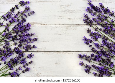 White wooden  frame with lavender