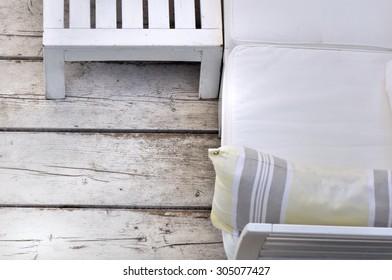 white wooden lounge terrace on wooden floor