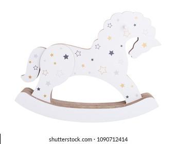 White wooden rocking horse with stars. Children toy