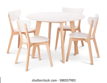 White wooden round dining table with four chairs. Modern designer, dining table and chairs isolated on white background. Series of furniture.