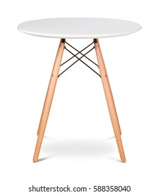 White wooden round dining table. Modern designer, dining table isolated on white background. Series of furniture.