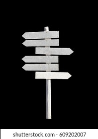 White wooden signpost arrows blank,isolated on black background