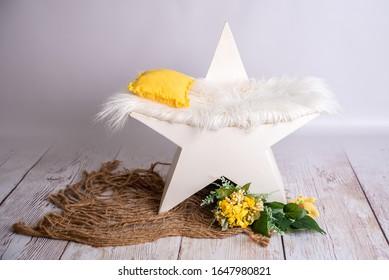 white wooden star newborn photograph