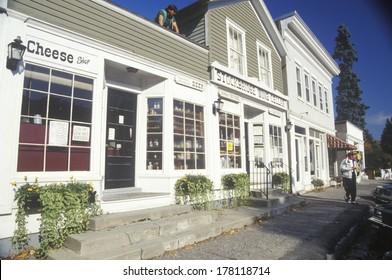 White wooden storefronts in autumn, Stockbridge, MA