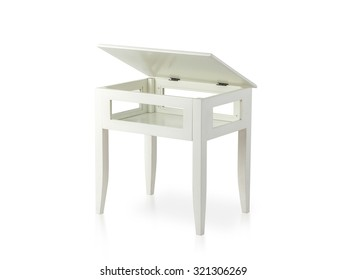 white wooden table with opened top isolated on white