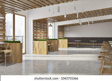 White and wooden walls eco bar interior with loft windows and wooden tables and chairs. Flower beds. 3d rendering mock up