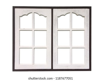 White wooden window for homes with clipping path.