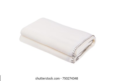 White wool blanket isolated on white background.