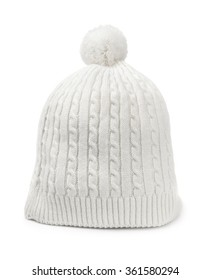 White woolen knitted hat isolated on white