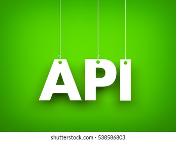 White word API on green background. New year illustration. 3d illustration