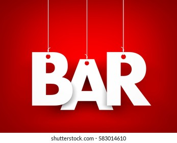 White word BAR on red background. 3d illustration