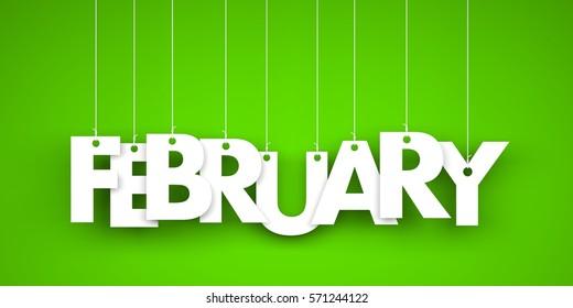 White word FEBRUARY on green background. New year illustration. 3d illustration
