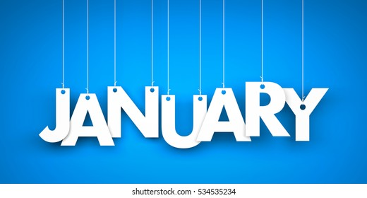 White word January on blue background. New year illustration. 3d illustration