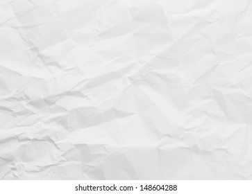 White wrinkled paper background texture
