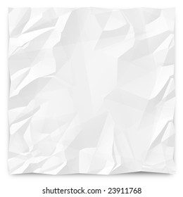 A white, wrinkled piece of paper background for slides, brochures and presentations.