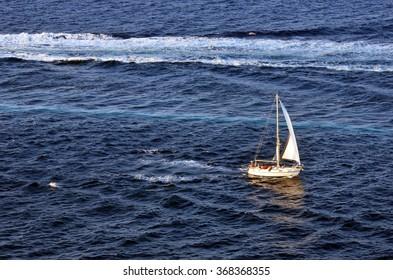 White yacht in Adriatic sea