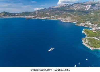 White yacht in Adriatic sea. Montenegro.