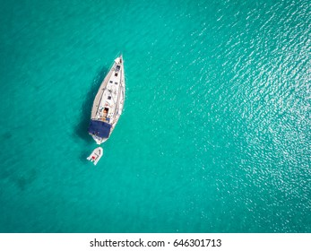 White yacht berthed on Adriatic Sea, Ortanto, Italy