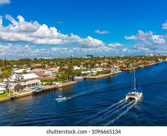White Yacht Moored in the Intracoastal