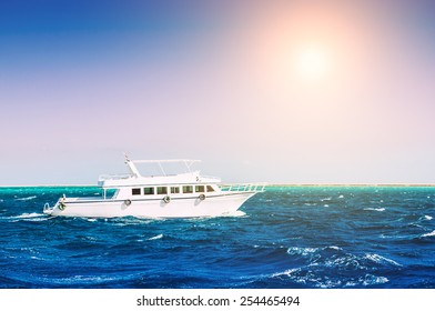 White yacht in the sea. Beautiful summer seascape