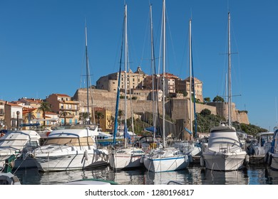 White yachts in the port of Calvi on a sunny autumn day