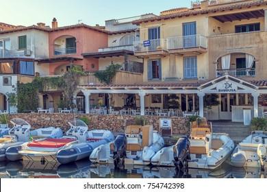 White yachts in the port. Porto Rotondo, Sardinia, Italy - July 2017.