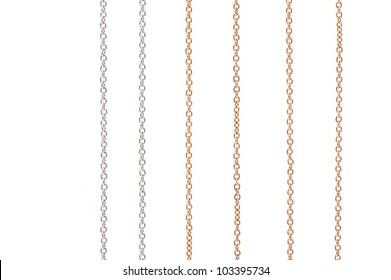 White and yellow gold chains isolated on white background.